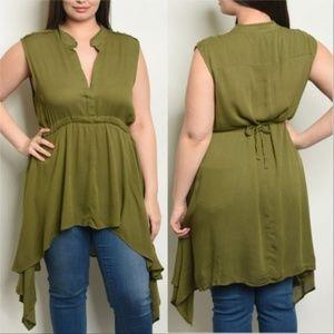 Green Tunic Top Plus Size